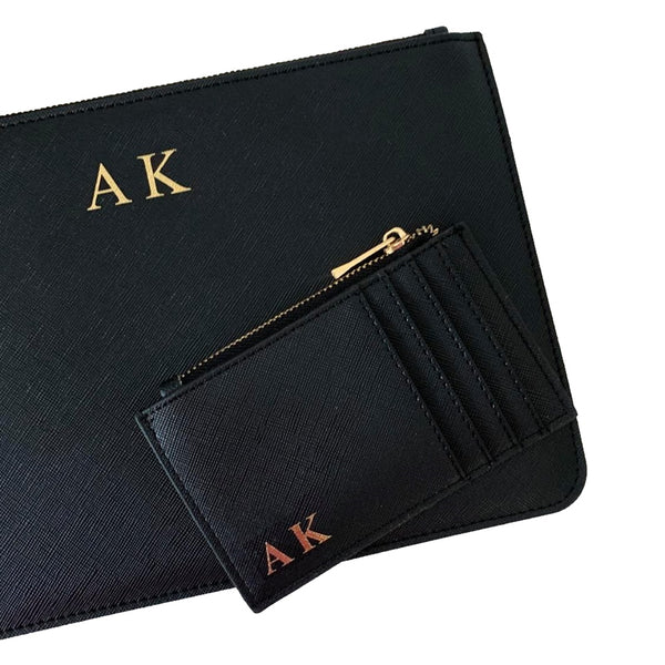 Personalised Initial Clutch Bag & Card Holder Gift set - Black