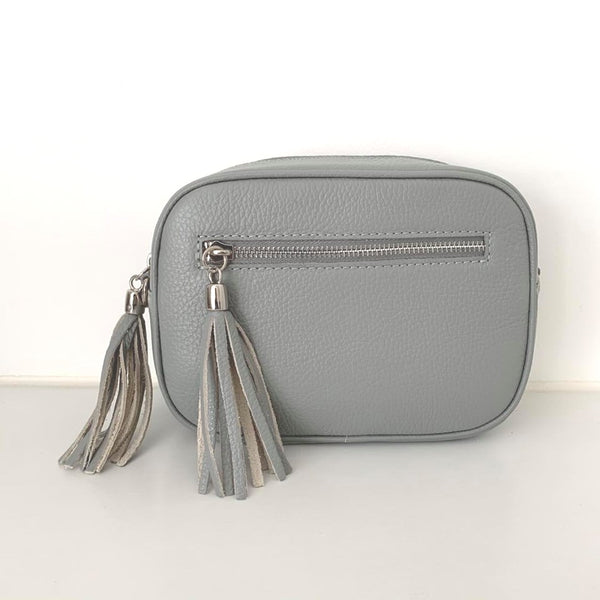 Leather Crossbody Bag - Light Grey
