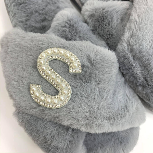 Personalised Grey Fur Slippers - Pearl Crystal Initial