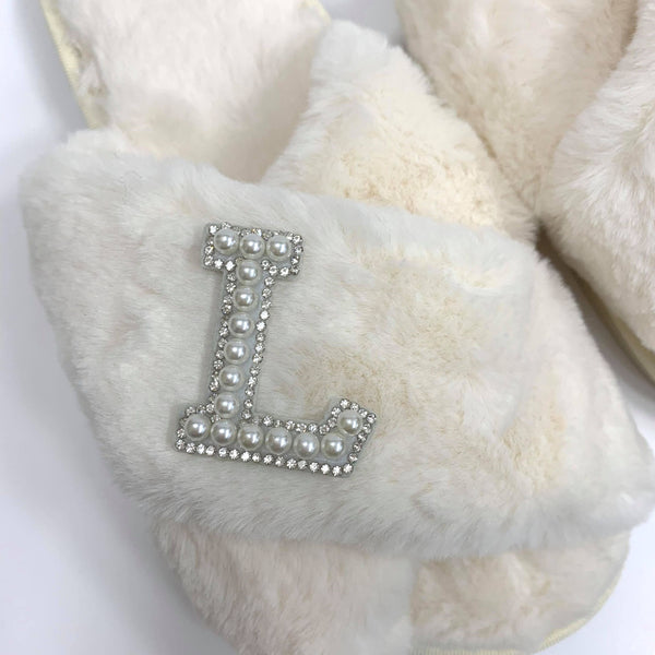 Personalised Cream Fur Slippers - Pearl Crystal Initial