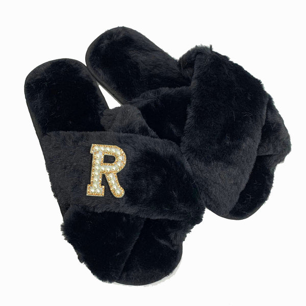 Personalised Black Fur Slippers - Pearl/Gold Crystal Initial