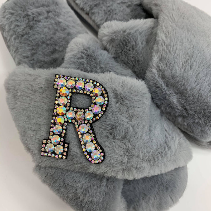 Personalised Grey Fur Slippers - Black Crystal Initial