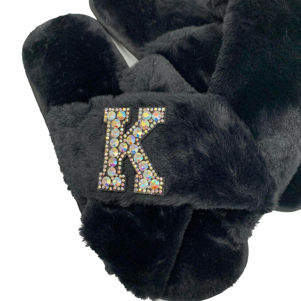 Personalised Black Fur Slippers - Black Crystal Initial