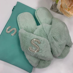 Personalised Mint Green Fur Slippers Gift Set