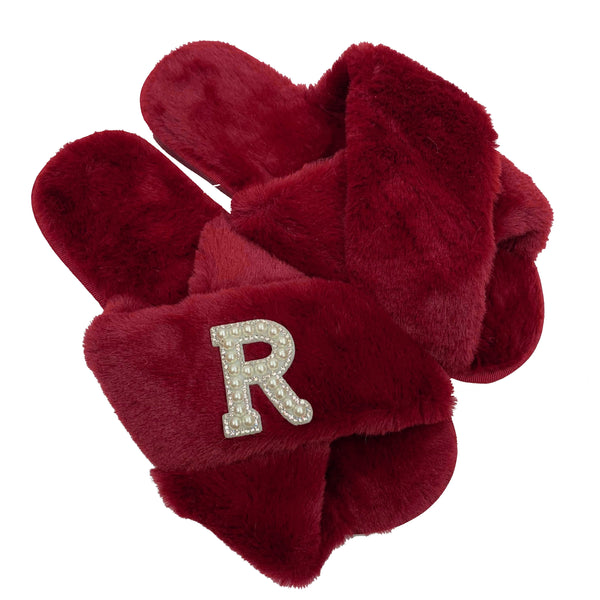 Personalised Red Fur Slippers - Pearl Crystal Initial