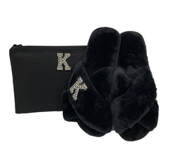 Personalised Black Fur Slippers Gift Set