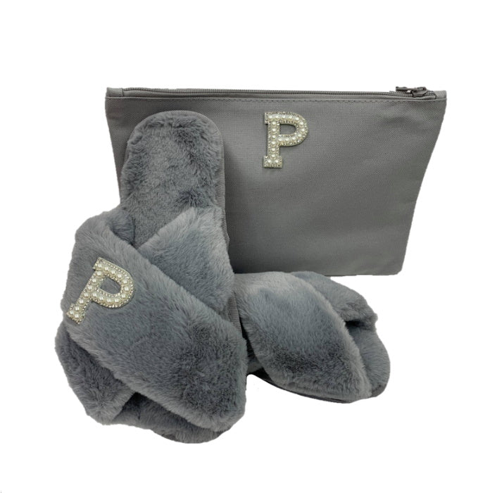 Personalised Grey Fur Slippers Gift Set