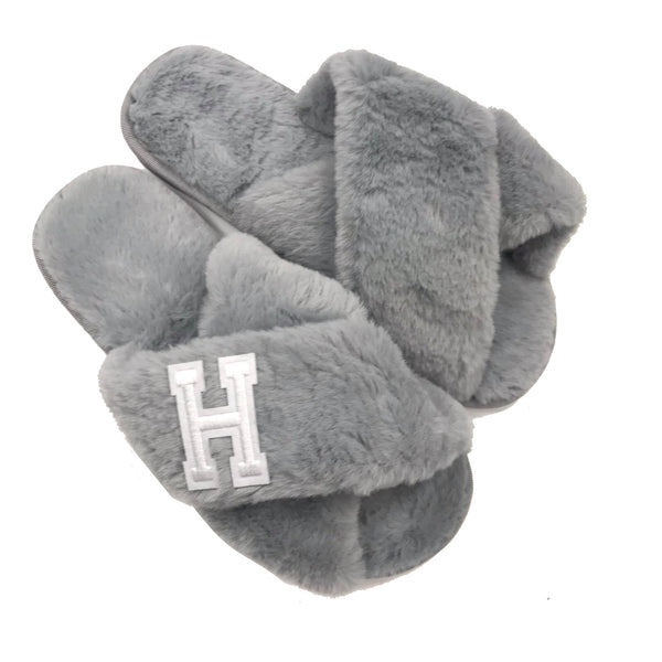 Personalised Grey Fur Slippers - White Initial