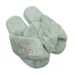 Personalised Mint Green Fur Slippers - Pearl Crystal Initial