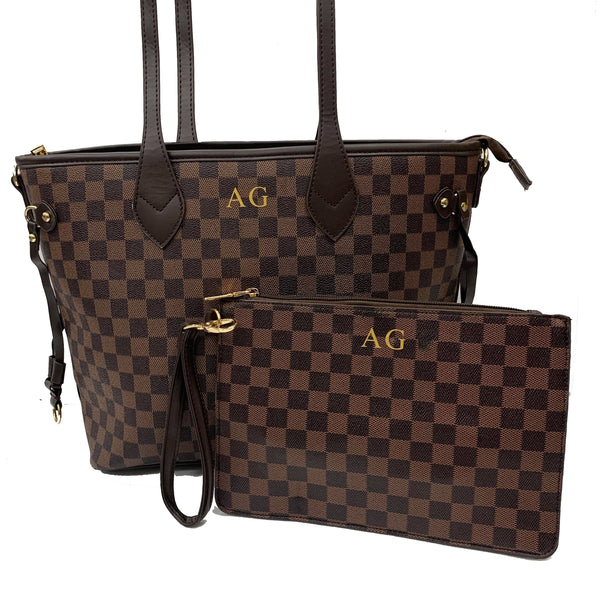 Personalised Initial Checkered Gift Set - Brown