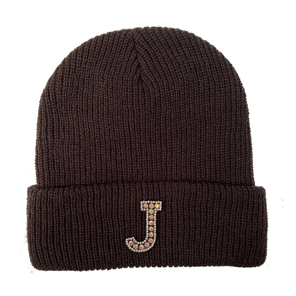 Dark Grey Initial Beanie Hat - Silver Crystal
