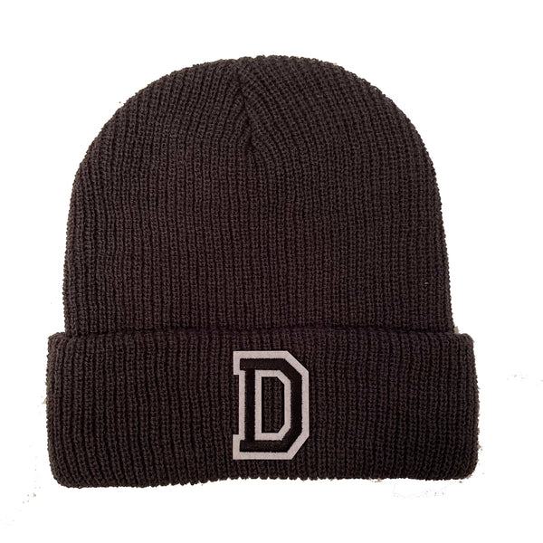 Dark Grey Initial Beanie Hat - Black Letter