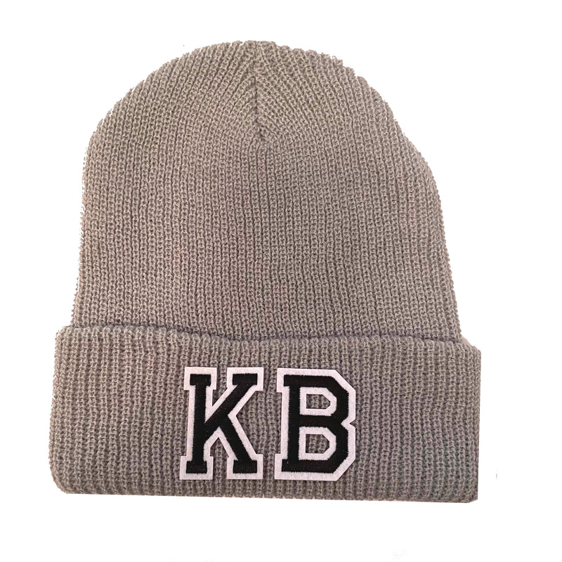 Light Grey Initial Beanie Hat - Black Duo