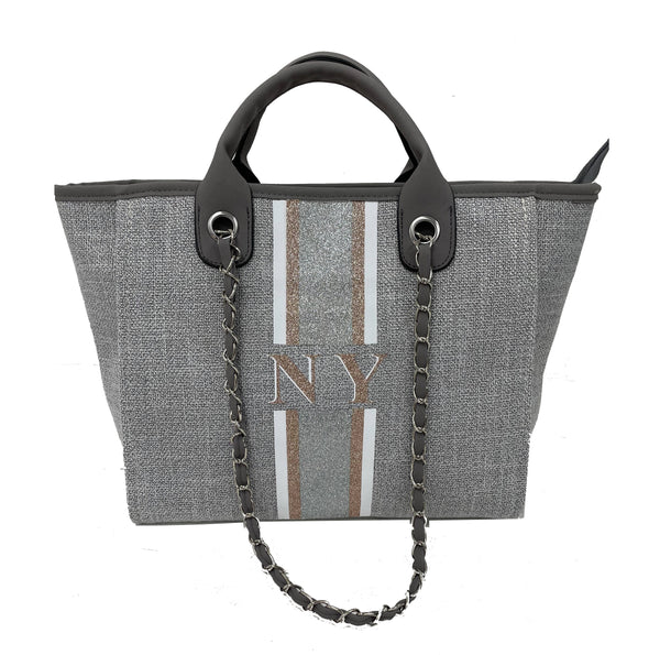 Chanella Chain Bag Glitter Trio - Grey
