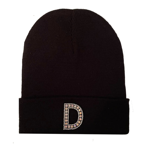 Black Initial Beanie Hat - Silver Crystal Letter