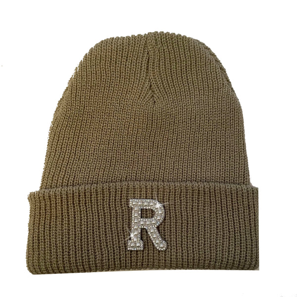 Beige Initial Beanie Hat - Gold/Pearl Crystal