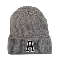 Light Grey Initial Beanie Hat - Black Letter