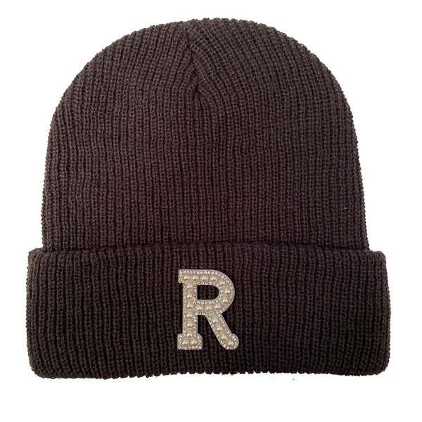 Dark Grey Initial Beanie Hat - Pearl/Crystal Letter