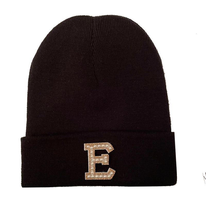 Black Initial Beanie Hat - Gold/Crystal Letter