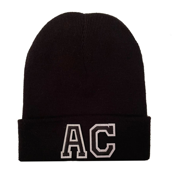 Black Initial Beanie Hat - Black Duo