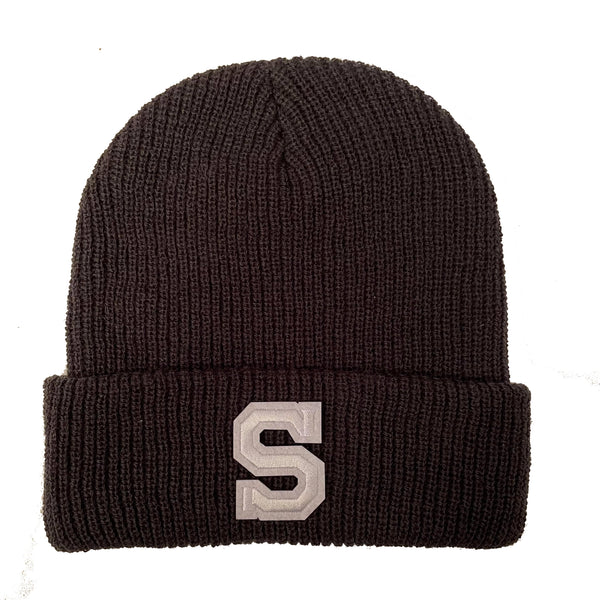 Dark Grey Initial Beanie Hat - White Letter