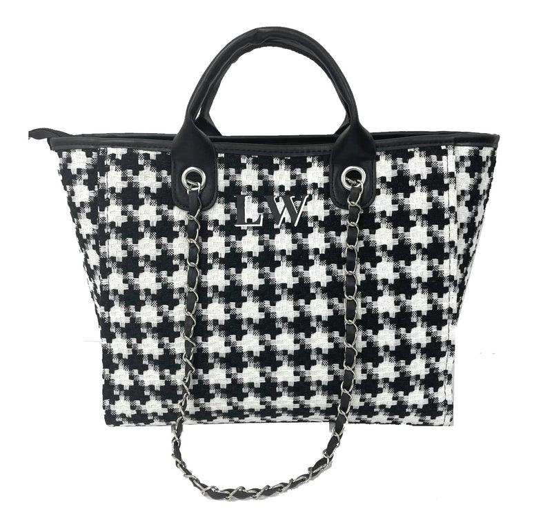 Chanella Chain Bag - Black Houndstooth