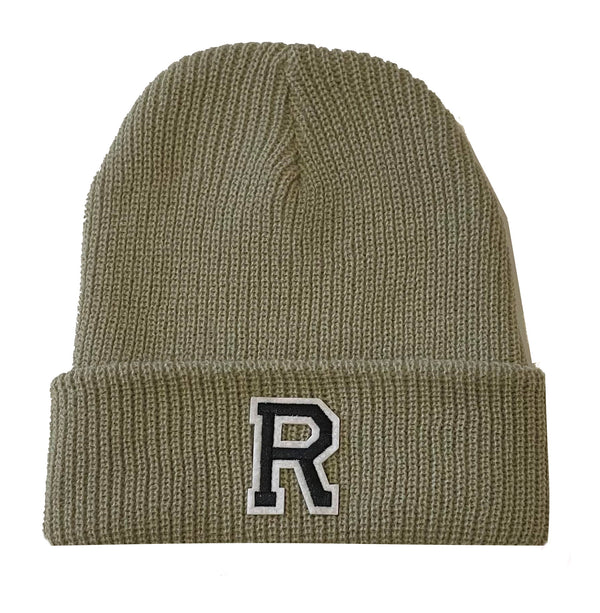 Beige Initial Beanie Hat - Black Letter