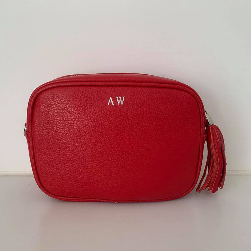 Leather Crossbody Bag - Red
