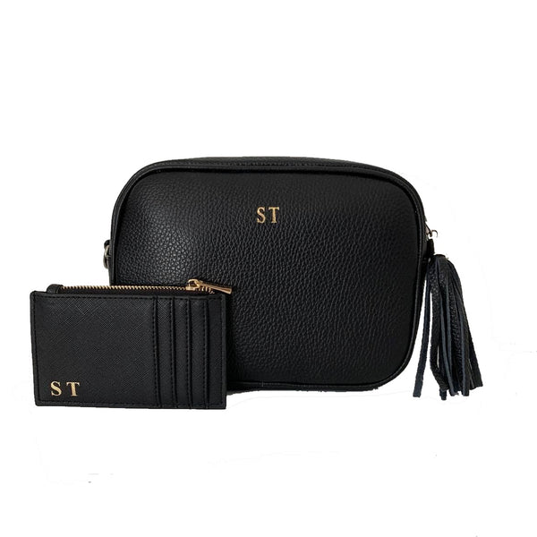 Leather Crossbody Bag Black - Gift Set
