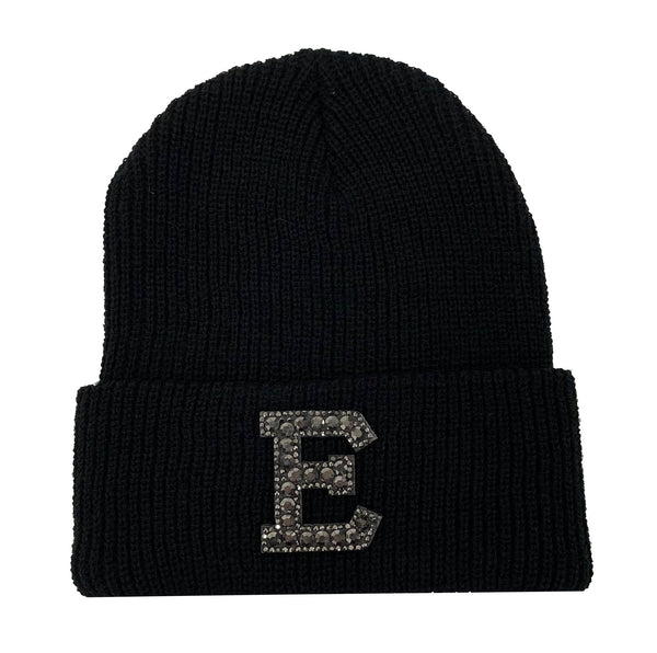 Black Initial Beanie Hat - Black Crystal