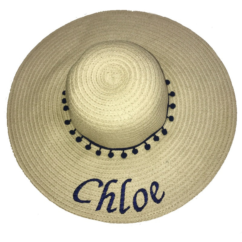 image 1 of Personalised Large NAME Pom Pom Beach Hat