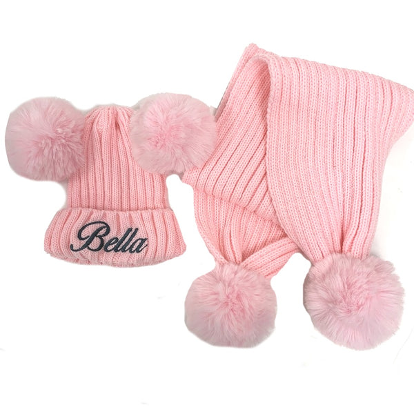 Personalised Pom Pom Hat and Scarf