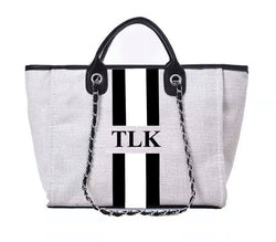 Chanella Chain Bag Black/White Duo - Black Trim