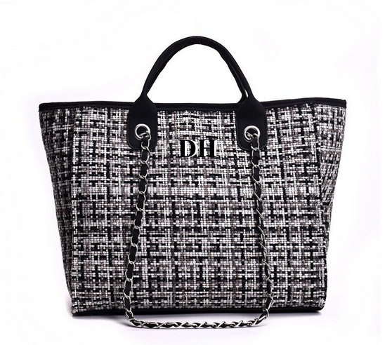 Chanella Chain Bag - Black Tweed