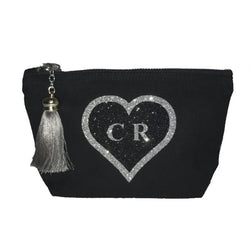 image 1 of Personalised Glitter HEART Make Up Bag Black - Medium