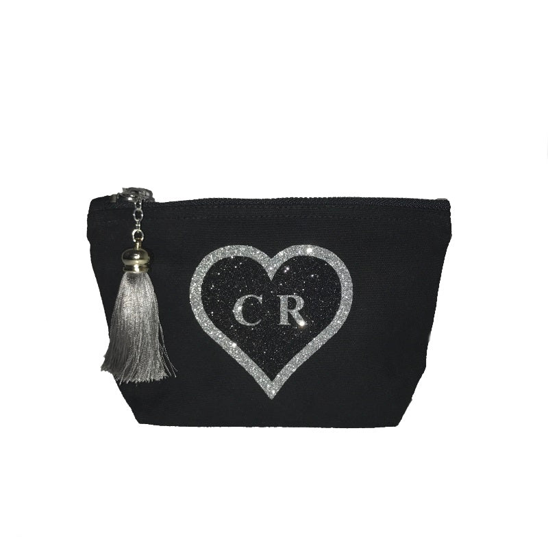 image 1 of Personalised Glitter HEART Make Up Bag Black - Small