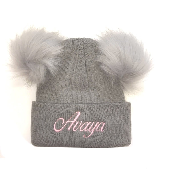 image 1 of Personalised Pom Pom Hat - Italic Grey