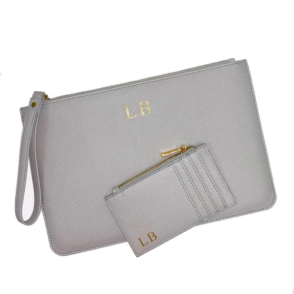 Personalised Initial Clutch Bag & Card Holder Gift set - Grey