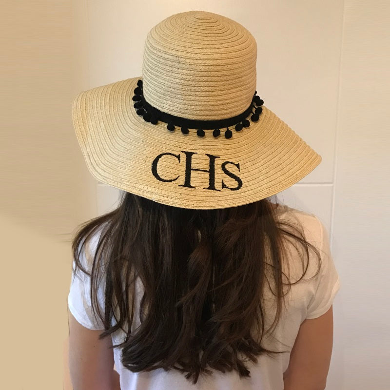 image 2 of Personalised Large Pom Pom Beach Hat