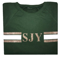 image 1 of Green Stripe Sweater -  Glitter Rose Gold/Cream
