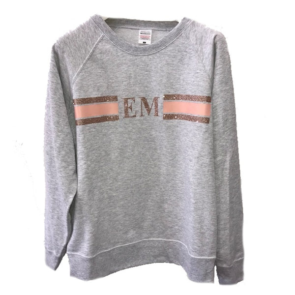 image 2 of Personalised Grey Stripe Sweater -  Glitter Rose Gold/Peach