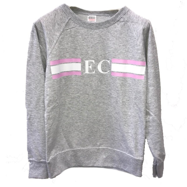 image 2 of Personalised Grey Stripe Sweater - Baby Pink/White