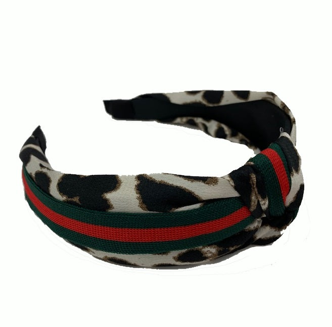image 1 of LEOPARD Print Headband -  White