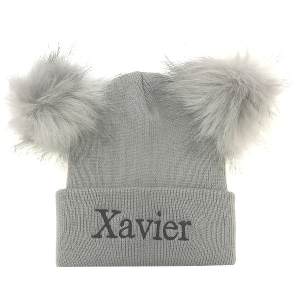 image 1 of Personalised Pom Pom Hat - Grey