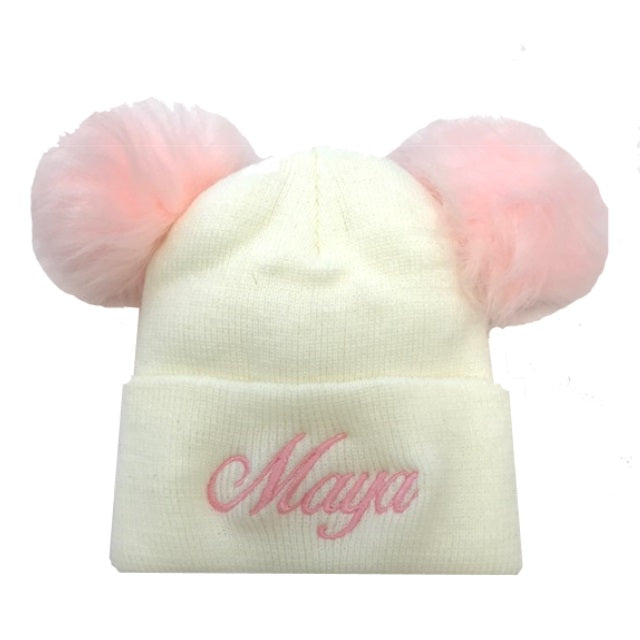 image 1 of Personalised Pom Pom Hat - Cream/Pink
