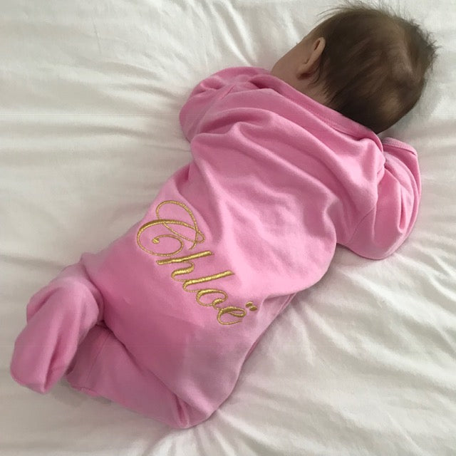 image 2 of Personalised Baby Grow - Pink