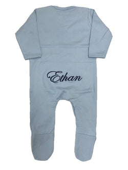 image 1 of Personalised Baby Grow - Blue