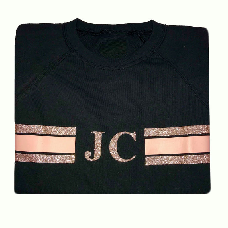 image 1 of Personalised Black Stripe Sweater -  Glitter Rose Gold/Peach