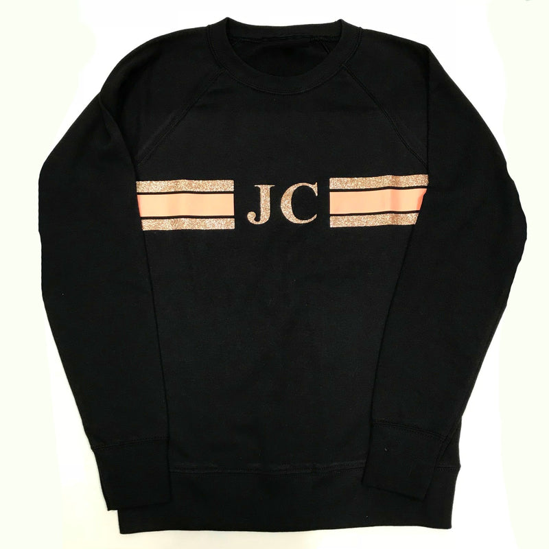 image 2 of Personalised Black Stripe Sweater -  Glitter Rose Gold/Peach