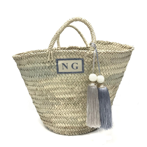 image 1 of Personalised Giant Tassel Basket silver and gold